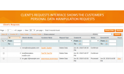 Easy to use interface that allows managing all clients' requests for data deleting.