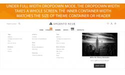 Magento 2 dropdown menu full width