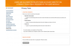 Privacy Tools page allows deleting the account on user request.