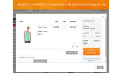 Ability to redirect customers to shopping cart page without reloading a page