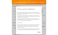 Ability to agree with the Terms and Conditions in a popup window