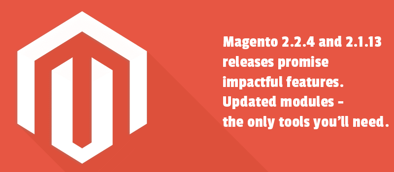 Magento 2.2.4 and 2.1.13 releases promise impactful features. Updated modules - the only tools you'll need.